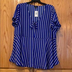 Blue stripe top Torrid 4 plus top peplum 4x NWT